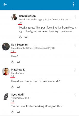 LinkedIn komentarji